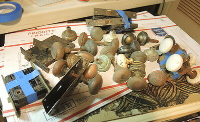 Large Lot Antique Door Hardware, Locks,knobs , Plates , Parts