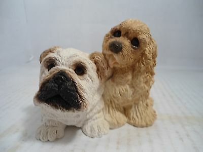 "Bulldog Collectible:vintage ""bulldog Pup And Cocker"" From The Stone Critter Coll"