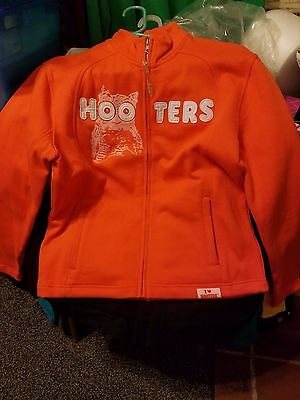 HOOTERS SWEATSHIRT JACKET ZIPPERED I HEART HOOTERS ORANGE LADIES' SZ M or L NWT