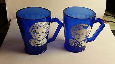 """2 'Vintage, Glass """"Shirley Temple 3 3/4 Inch Cobalt Blue Mugs with her Picture!"""