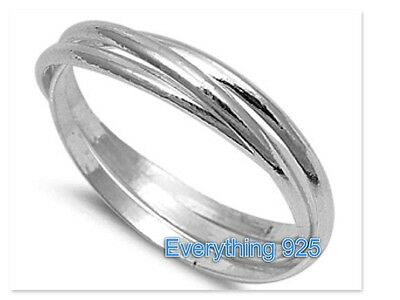 Sterling Silver 925 TRIPLE BAND WITH INTERTWINED DESIGN RINGS 1.5MM SIZES 5-13