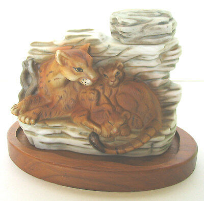Mountain Lion With Cubs On Teak Wood Base 1978 Cyrus Noble Mini Decanter