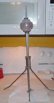 Vintage Lightning Rod Ornate  Roof Mount! aluminum with Ball and Stand