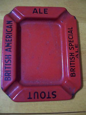 Antique Vintage Red Porcelain Ashtray British American Stout Ale Beer Advertise