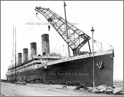 Photo: The RMS Olympic At The Fitting Out Basin - Harland & Wolf Shipyard, 1911