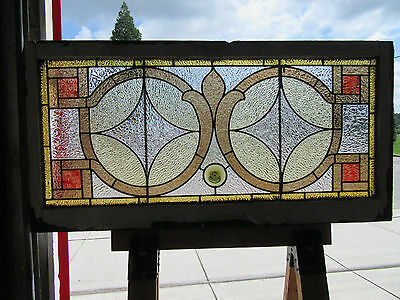 ~ Antique  American Stained Glass Window ~ 48 X 24 ~ Architectural Salvage ~