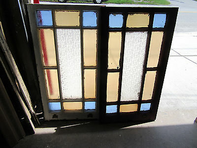 ~ Pair Of Antique Queen Anne Stained Glass Windows  ~ Architectural Salvage