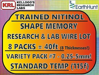 8 SIZES SHAPE MEMORY WIRE Variety Pack#7 STANDARD TEMP NITINOL .25mm-5mm 40ft