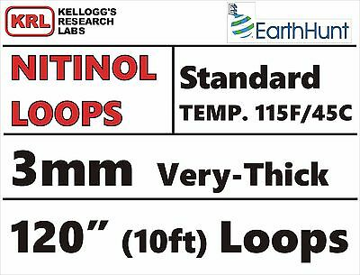 """Very-Thick 3mm WELDED LOOP 120"""" TRAINED NITINOL WIRE 115f/45c STANDARD TEMP Rare"""
