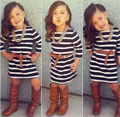 Cute Baby Girls Long Sleeve Striped Dress + Belt Set Kids Casual Clothes Outfits