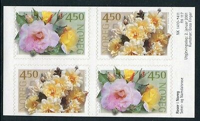 Roses 2001 - Mnh Ex-Booklet Block Of Four Self-Adhesives (Bl314-Rr)