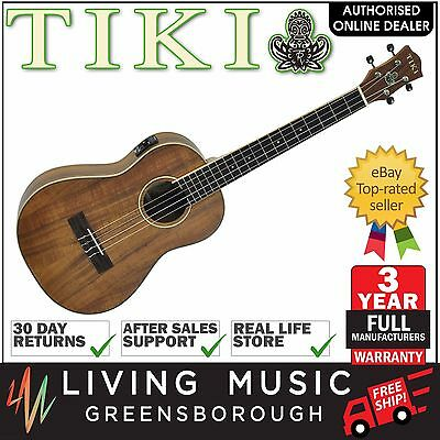 Tiki Solid Koa Top Electric Baritone Ukulele with Hard Case (Natural Satin)