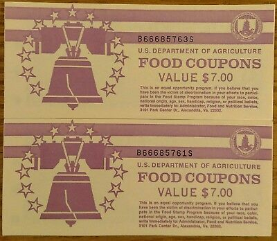 2X mint uncirculated 1993 B $7 books of food stamps (1) $5 bill and (2) $1 bills