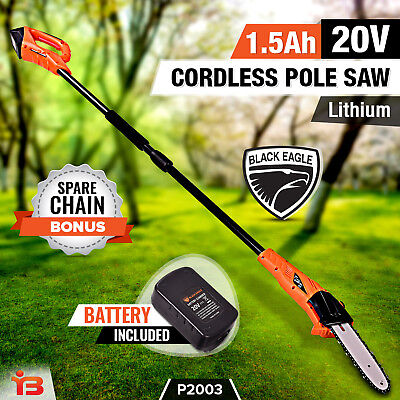 Black Eagle 20V Lithium-Ion Pole Chainsaw Cordless Electric Battery Saw