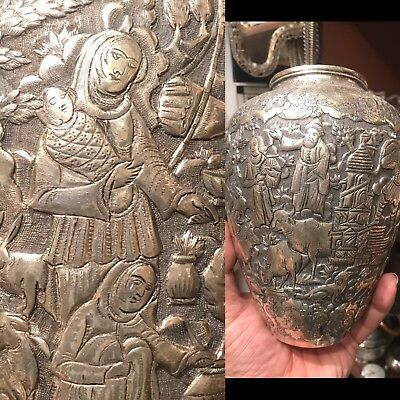 Antique 19th C Islamic Ghajare Persian Sterling Solid Silver Vase Rare Carving