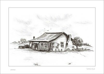 Country Farm House    Australian  Pencil  Drawing   Limited Edition Print