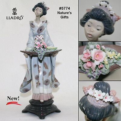 """NEW VERY RARE Retired Lladro 5774 """"Nature's Gifts"""" Japanese Komodo Woman w/ Tray"""