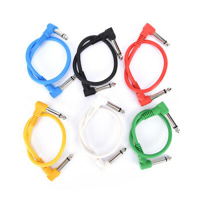 6pcs Colorful Guitar Patch Cables Angled for Guitar Effect Pedals Accs Supply