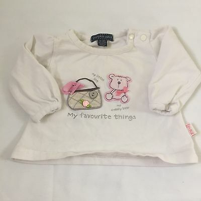 White teddy & hand bag long sleeved top Baby girls clothes 0-3 Months