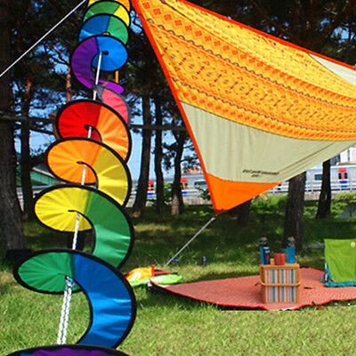 Foldable Rainbow Spiral Windmill Wind Spinner Camping Tent Home Garden Decor GT