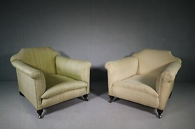 Pair of Deep Seated English 19th Century Antique Armchairs.