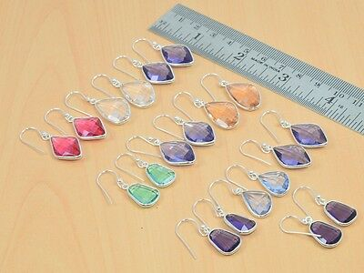 Wholesale 10Pc 925 Solid Sterling Silver Purple Amethyst & Mix Stone Earring Lot