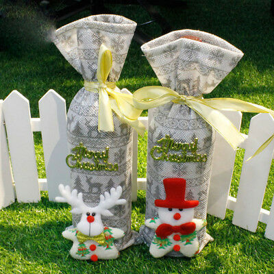 Christmas Decoration Snowman Embroidery Red Wine Champagne Bottle Cover Sets .*