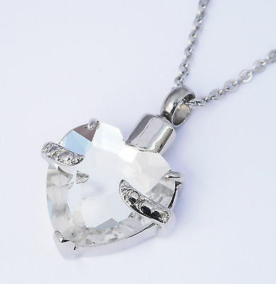 "Cremation Ashes Jewellery Keepsake Necklace Urn ""Clear Embrace Heart"""