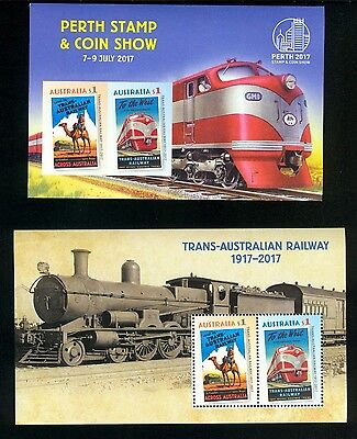2017 Perth Stamp & Coin Show imperforate sheet plus CTO plus Normal Railway MNH