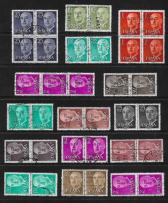 SPAIN - mixed collection, joined blocks strips pairs No.3, General Franco