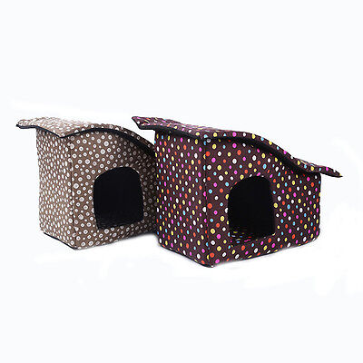 Dog House Pet Kennel Folding Soft Cat Puppy Indoor Outdoor Travel Bed Portable