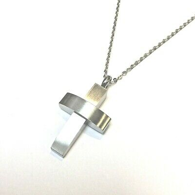 """Cremation Ashes Jewellery Keepsake Necklace Urn """"Silver Cross"""""""