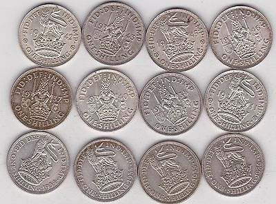 1933 To 1946 George V & Vi Shillings In Good Fine Or Better Condition