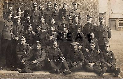 Soldier Group Royal Scots Fusiliers outside permanent barracks 2x wear bearskins