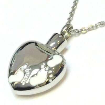 "Cremation Ashes Jewellery Keepsake Necklace Urn ""Footprints"""