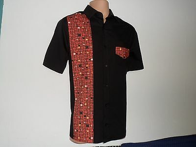 New** Mens Black Rockabilly 1950's Retro, Vintage Style Shirt