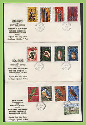 French New Hebrides 1977 ovpt. definitive set on three First Day Covers