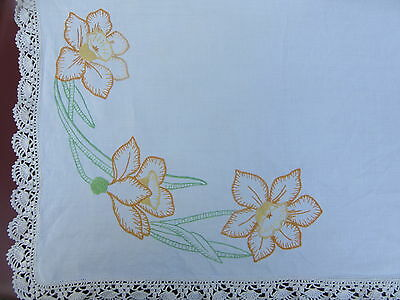 "Vintage ""Daffodil"" Hand Embroidered Tablecloth - 1 m X 1 m"