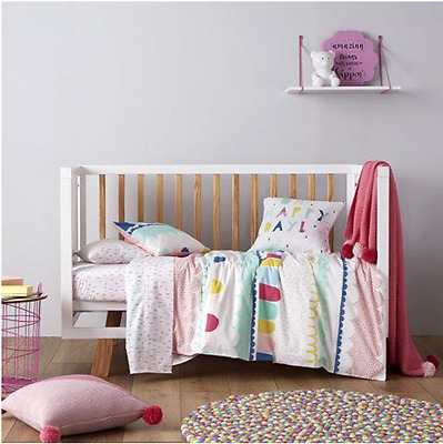 Adairs Girls Quilt Nursery Baby Bedroom Decor Cot Lola Quilt Cover Set NEW