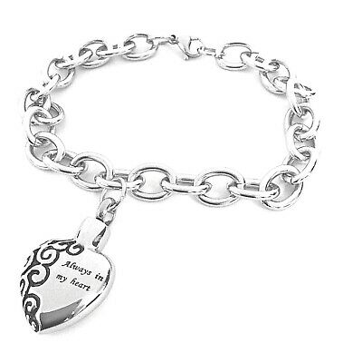 "Cremation Ashes Jewellery Keepsake Bracelet Urn ""Always in my Heart"" Engravable"