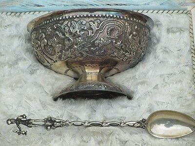 An Antique Boxed Dutch Silver Set, Bowl & Spoon
