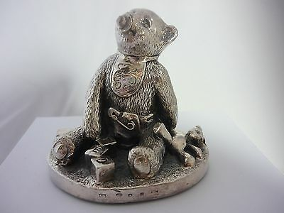 Stunning Large Hallmarked Sterling Silver Baby Bear With Teddy Statue Sculpture