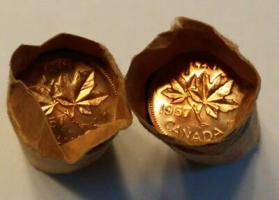 1957 Canada One Cent 2 Half Rolls 25 Coppers