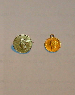 Two 1853 Type l & 1855 Type ll 2 GOLD One DOLLAR Princess Liberty $1