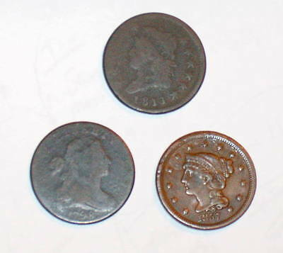 3 Better date 1798 Bust 1811 Classic & 1857 Braided LARGE CENT 1c