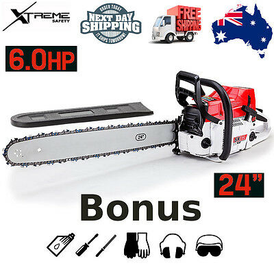 "Baumr-AG 24"" 92cc Petrol Commercial Chainsaw A-VIBE Easy Start Huge Power SX92"
