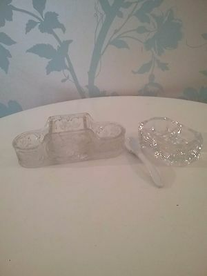 Vintage French Glass Condiment Dishes with Spoon