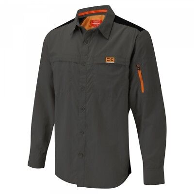 Craghoppers Bear Grylls Trek Long Sleeve Stretch Shirt in Black Pepper - SMALL