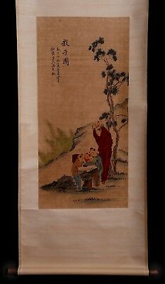 Wonderful Rare Old Chinese Figure Scroll Hand Painting Marks MaYuanYu KK696