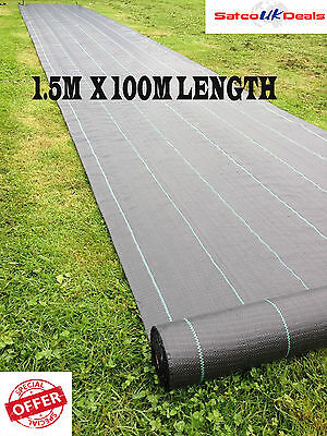 1.5m x 100m Woven Weed Control 100gsm Ground Cover Membrane Landscape Fabric NEW